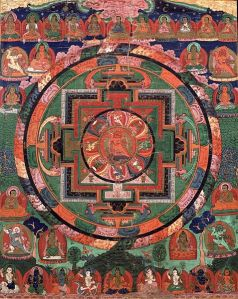 Painted_17th_century_Tibetan_'Five_Deity_Mandala',_in_the_center_is_Rakta_Yamari_(the_Red_Enemy_of_Death)_embracing_his_consort_Vajra_Vetali,_in_the_corners_are_the_Red,_Green_White_and_Yellow_Yamari